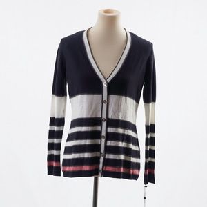 Tommy Hilfiger Womens Navy Blue Striped Cardigan S